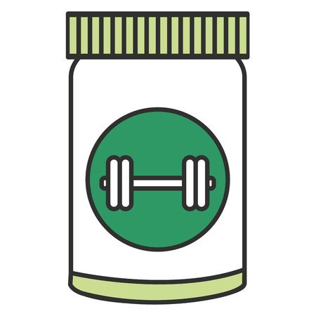proteins bottle with dumbell vector illustration design