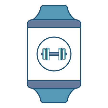 smartwatch device with sport app vector illustration design