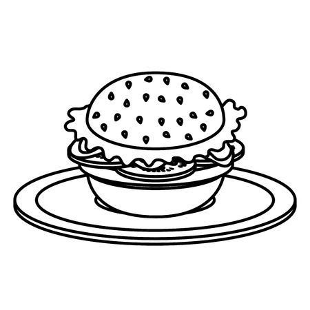 dish with delicious hamburger fast food vector illustration design