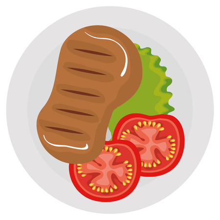 cut beef meat with salad icon vector illustration design