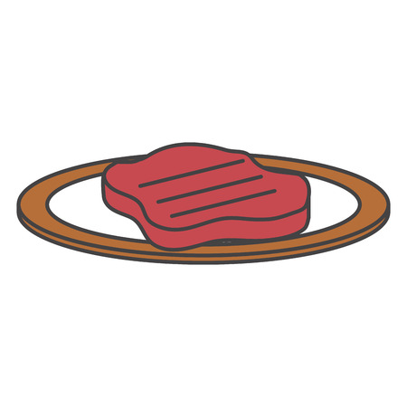 dish with cut beef meat icon vector illustration design