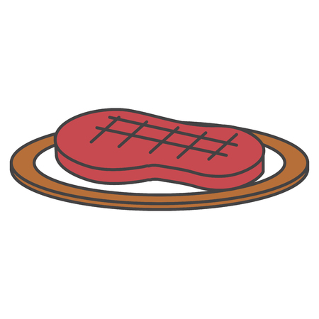 dish with cut beef meat icon vector illustration design Vektorové ilustrace