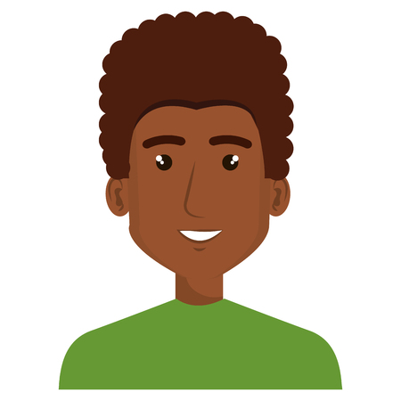 young man black avatar character vector illustration design