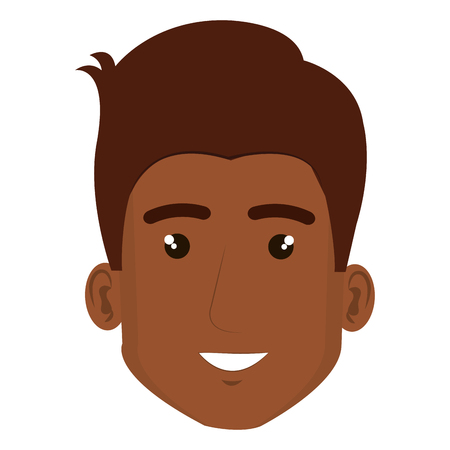 black young man head avatar character vector illustration design Illustration
