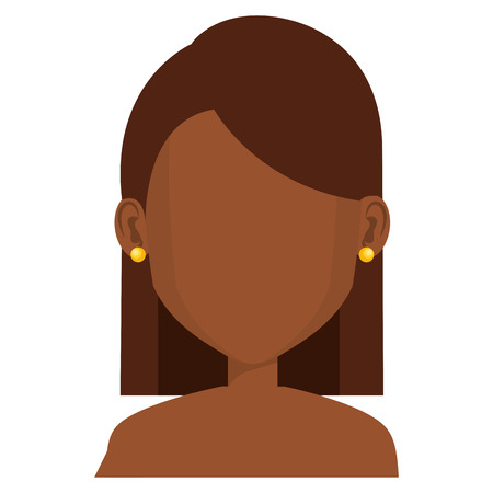 Noir jeune femme torse nu avatar caractère conception vecteur illustration Banque d'images - 79315385