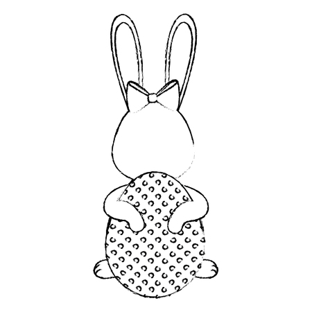 Cute easter bunny cartoon icon vector illustration graphic design