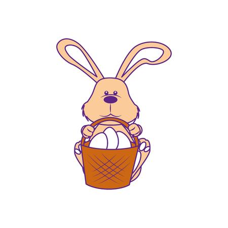 Cute easter bunny cartoon icon vector illustration graphic