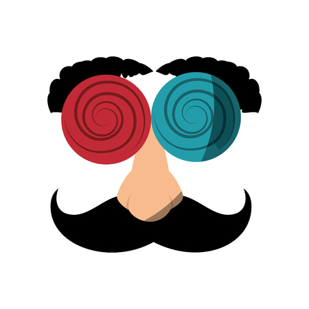 comedy: Eye glasses with mustache joke mask icon vector illustration graphic design