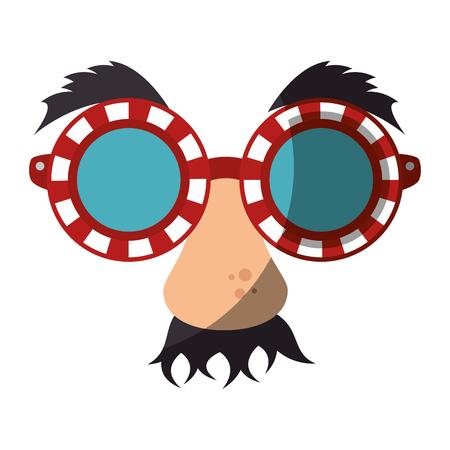 Eye glasses with mustache joke mask icon vector illustration graphic design