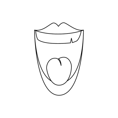 Lachendes Karikaturikonenvektor-Illustrationsgrafikdesign des Mundes.