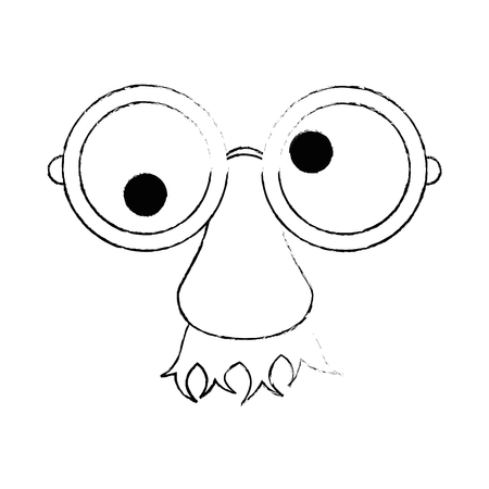 fake nose and glasses: Eye glasses with mustache joke mask icon vector illustration graphic design
