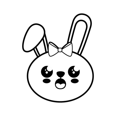 Bunny kawaii cartoon pictogram vector illustratie grafisch ontwerp
