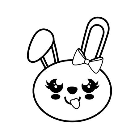 Bunny kawaii cartoon icon vector illustration graphic design Ilustração