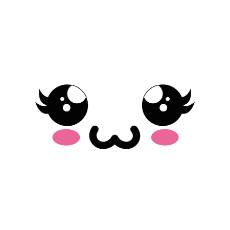 Cute kawaii cartoon face icon vector illustration graphic design