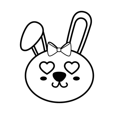 Bunny kawaii cartoon icon vector illustration graphic design Çizim