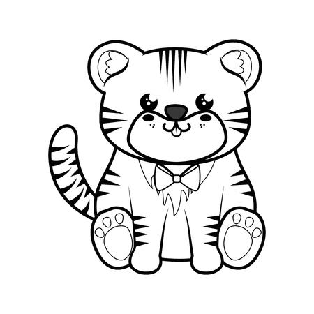 Tigerkawaii cartoon icon vector illustration graphic design Illustration