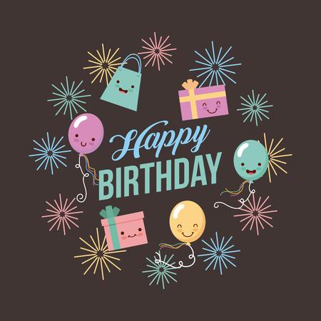 happy birthday ballons icon vector design graphic illustration