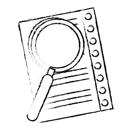 Lupe checking sheet icon vector illustration graphic design.