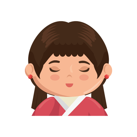 anime young: Cute japanese girl cartoon icon vector illustration graphic design