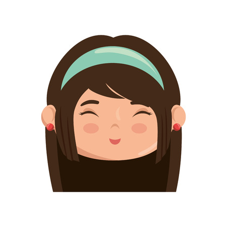 Cute japanese girl face cartoon icon vector illustration graphic design Ilustracja