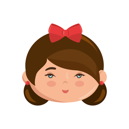 Cute japanese girl face cartoon icon vector illustration graphic design Ilustração