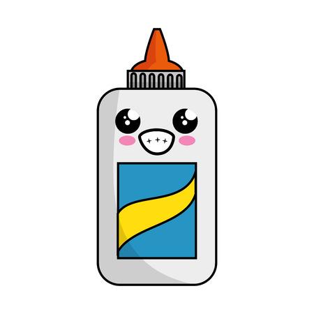 Kawaii lijm fles icoon op witte achtergrond. vector illustratie
