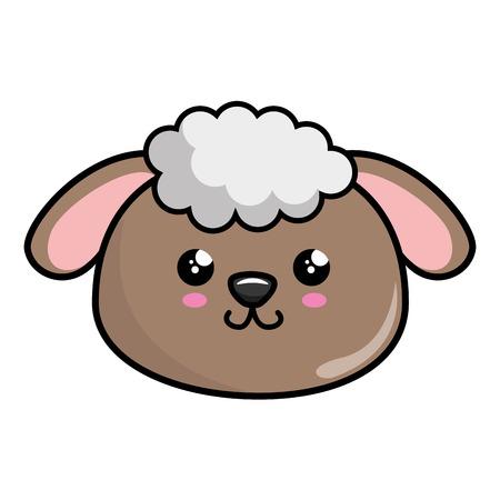 kawaii sheep icon over white background. vector illustration Illustration