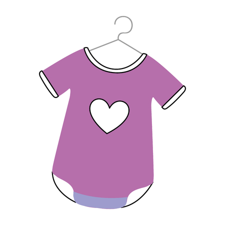 Baby outfit with heart vector illustration design