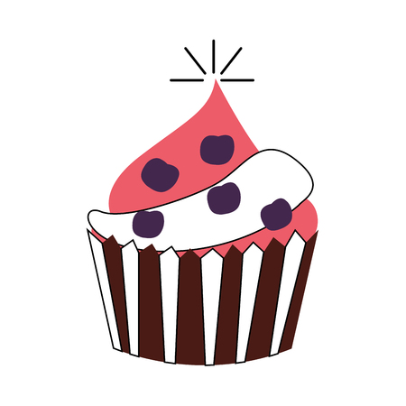 birthday celebration: delicious cupcake celebration icon vector illustration design