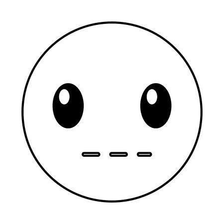 silent: silent emoticon face style vector illustration design Illustration