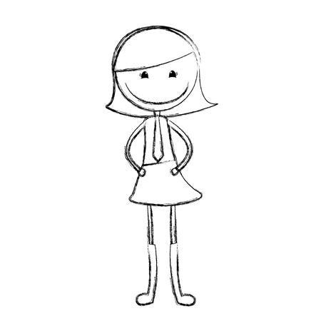 cute girl drawing character vector illustration design Illustration