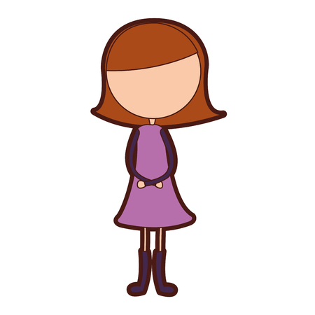 cute girl drawing character vector illustration design Ilustração