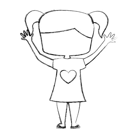 cute girl drawing character vector illustration design Ilustrace