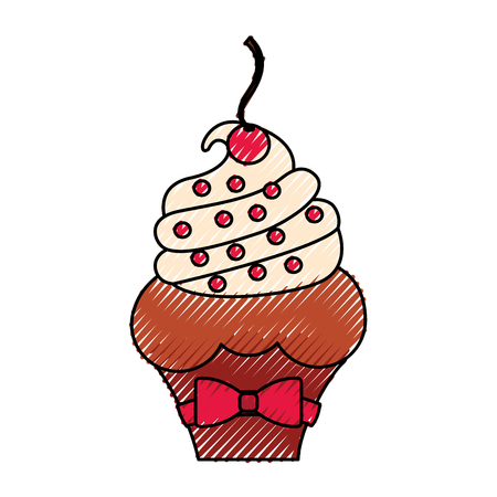little delicious creamy cupcake vector illustration graphic design
