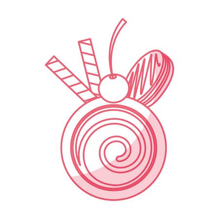 Chocolat roll cake icône illustration vectorielle design graphique Banque d'images - 79348767