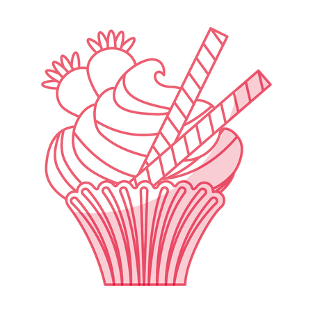 cupcakes isolated: little delicious creamy cupcake vector illustration graphic design