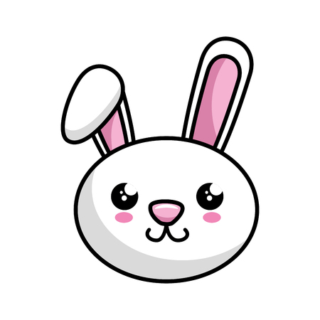 kawaii happy bunny animal icon over white background colorful design vector illustration