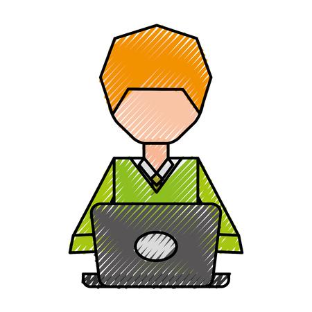Faceless pc user cartoon vector graphic design Stock Vector - 79408285