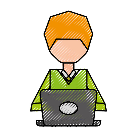 Faceless pc user cartoon vector graphic design
