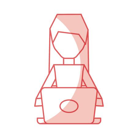 shadow pink pc faceless cartoon vector graphic design