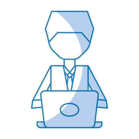 shadow blue pc faceless cartoon vector graphic design Ilustração