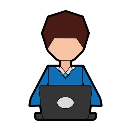 man pc faceless cartoon vector graphic design Ilustração