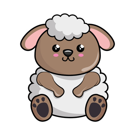kawaii sheep animal icon over white background. colorful design. vector illustration