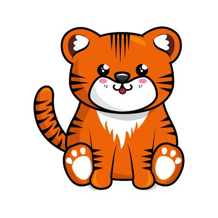Kawaii tiger animal icon over white background. colorful design. vector illustration