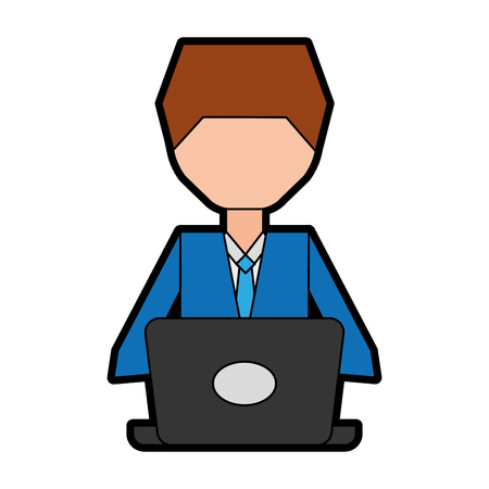 man pc faceless cartoon vector graphic design Stock Vector - 79405655