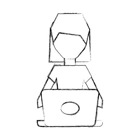 cyber woman: sketch draw women pc faceless cartoon vector graphic design