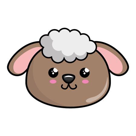 kawaii sheep animal icon over white background. colorful design. vector illustration