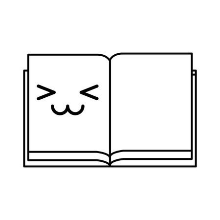 cute kawaii line icon open notebook vector graphic design Illustration