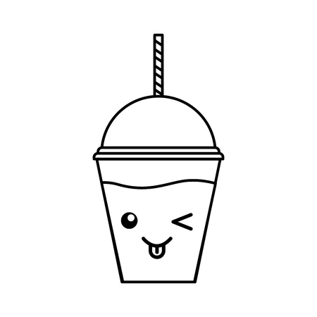 cute kawaii line icon milkshake plastic cup vector graphic design