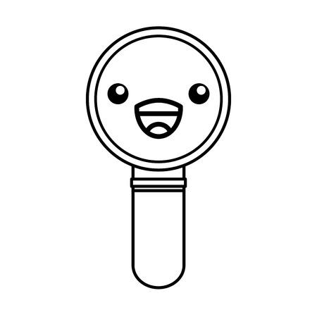 かわいいライン アイコン虫眼鏡漫画ベクトル